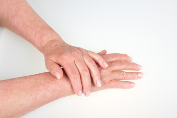 Old woman hands isolated