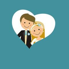 Pareja de recién casados con corazón azul