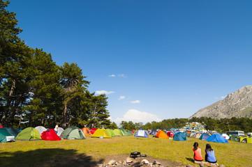 dağcılık etkinliği için kamp alanı