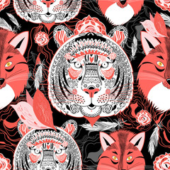 beautiful pattern  portraits of tigers and foxes