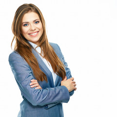 Business woman portrait with crossed arms isolated on white bac