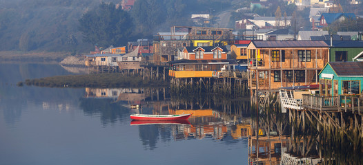 Houses on stilts (palafitos) in Castro, Chiloe Island, Patagonia
