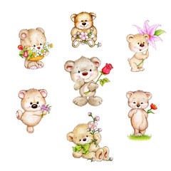 Set of cute Teddy bear with flowers