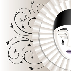 mask with black teardrop