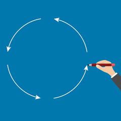 Businessman hand drawing a circle, Vector