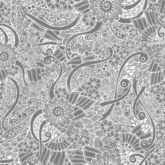 Seamless asian floral doodle grey and white pattern in vector.