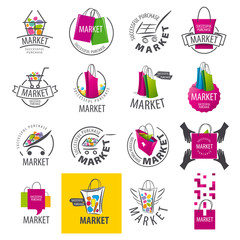 large set of vector logos for market