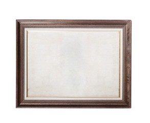 Wood frame with old paper isolated on white background
