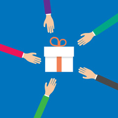 hands reach for a gift box, vector