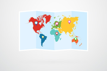 World Map With Continents Border Vector And Map Pins