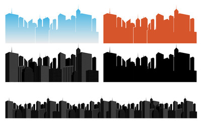 vector city icons set on white