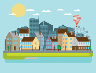 Urban landscape. Vector illustration.