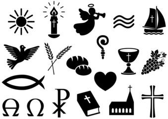 Set: Christliche Symbole, schwarz-weiß, Vektor