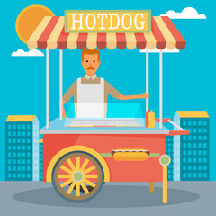 hot-dog cart with seller - vector illustration