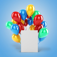 3d balloons and blank box