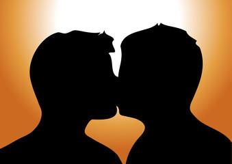 bacio di uomini al tramonto