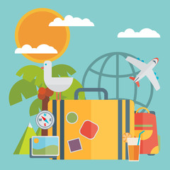 Travel vacation flat design set. Vector concept illustration.