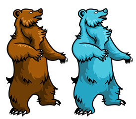 vector illustration of brown bear and polar bear