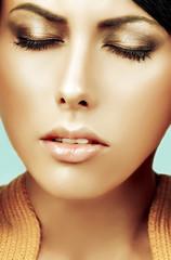 Gorgeous Woman Face. Bright makeup.
