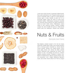 nuts and dried fruits on white background