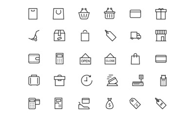 Shopping and Commerce Line Icons 1