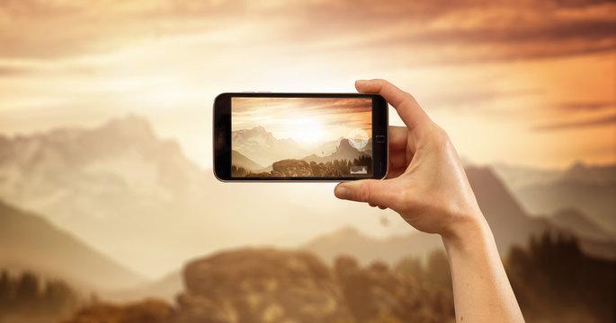 Smartphone Foto von Berglandschaft