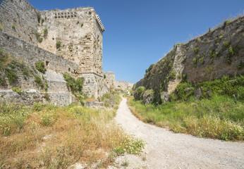 Medieval castle walls on Rhodes, Greece