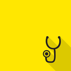 Flat style with long shadows, stethoscope vector icon illustrati