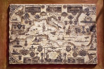 Old map of Mediterranean Sea