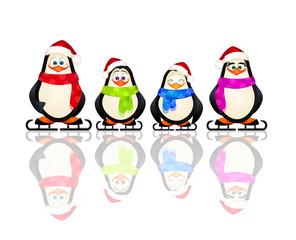 penguins on ice skates