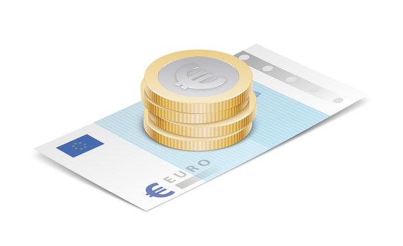 Pièce et billet de banque en euro vectoriels 1