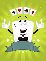 Ace of spades happy cartoon poker mascot juggling with cards