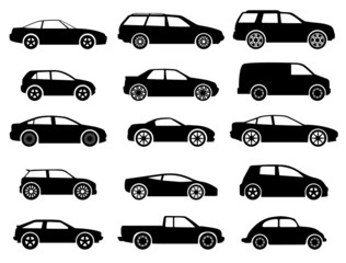 vector black auto icon set on white