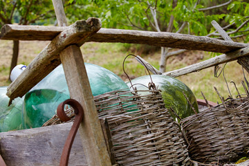 old wooden wagon with wine bottles
