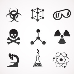 Chemical icon set. Vector art.