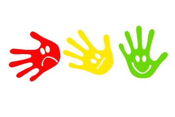 Handabdrücke mit Smileys