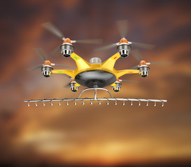 Hexacopter with crop sprayer flying in the sunset sky