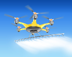 Hexacopter with crop sprayer flying in the sky