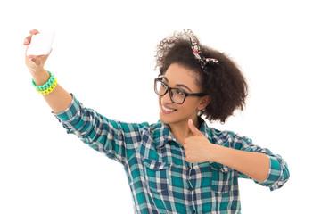 selfie concept - beautiful african american teenage girl taking