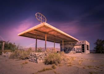 Abandoned gas station, Az,CA desert