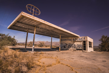 Abandoned gas station, Az,CA desert
