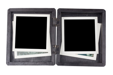 Black wooden box and photo frame