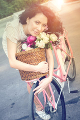 Beautiful Girl on a pink vintage Bike, Summer Lifestyle