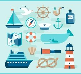 set of beautiful nautical flat icons