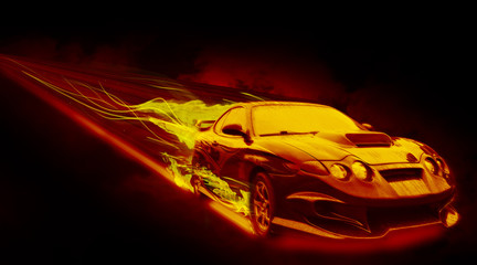 The Fiery Car / The fiery car isolated on black background.