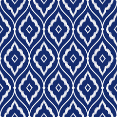 Seamless indigo blue and white vintage Persian ikat pattern