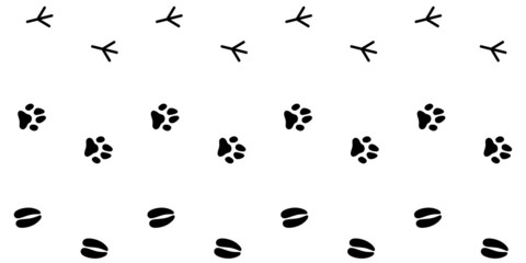 Collection Of Animal Footprint Tracks / Vector