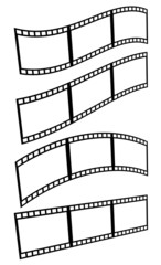 Filmstrips, film frames with different distortions (arcing, wavi