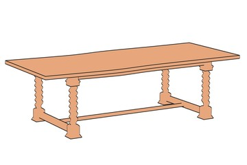 2d illustration of old table