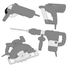 2d cartoon image of power tools